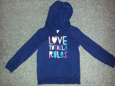 CIRCO Navy Blue Hooded LOVE TOTALLY RULES Sweatshirt Top Girls Size 4-5