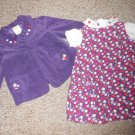 CRAZY 8 Floral Corduroy Jumper Top and Matching Purple Jacket Girls Size 2-3