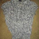 SAM & MAX Semi Sheer Gray Ruffled Short Sleeved Top Ladies LARGE