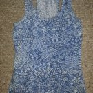 WET SEAL Blue Print Racer Back Tank Top Ladies Small