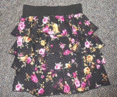 JOE BENBASSET Floral Print Ruffled Boho Layered Skirt Ladies SMALL