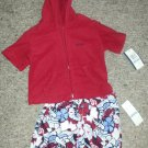 NWT Tropical Print Trunk Bathing Suit and Red Hooded Cover Up Boys 6-9 months