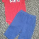 CARTER'S Woof Woof Red and Navy Doggie Pant Set Boys Size 9 months
