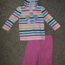 JUMPING BEANS Striped Hooded Top and Pink Pants Girls 18 months
