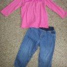 JUMPING BEANS Pink Babydoll Top CARTER'S Denim Jeans Girls Size 24 months