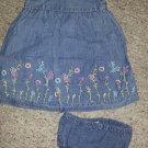 OLD NAVY Floral Embroidered Denim Sundress with panties Girls Size 6-12 months