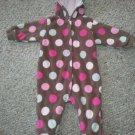 CARTER'S Brown Hooded Polka Dot Lined Fleece Romper Snowsuit Girls Size 6 months