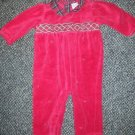 LITTLE ME Red and Plaid Velour Long Sleeved Romper Girls Size 9 months