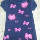 MAGGIE & ZOE Navy Blue Knit Hearts and Bows Dress Girls Size 2T
