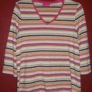 LIZ LANGE MATERNITY Pink Striped Long Sleeved Maternity Top MEDIUM
