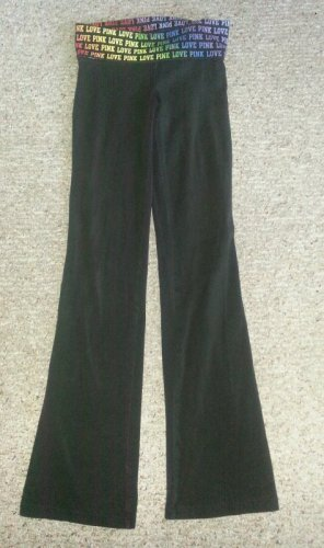 Victoria�s Secret PINK Fold Over Love Pink Black Yoga Leggings Ladies XSMALL