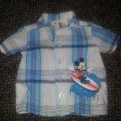 DISNEY Blue Plaid Surfing MICKEY Button Front Shirt Boys NEWBORN