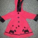 SOPHIE ROSE Red Heavy Fleece Hooded Scottie Dog Dress Coat Girls Size 12 months