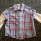 LITTLE ME Layered Look Blue Plaid Button Front Shirt Boys Size 2