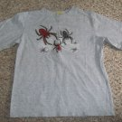 PREPARE TO SCARE Gray HALLOWEEN Top with Spiders Boys Size 6-7