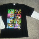Black Layered Look ANGRY BIRDS Space Long Sleeved Top XL Boys Size 14-16