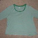 ST JOHN'S BAY Green Striped Scoop Neck Top Womans Plus Size 2X