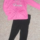 JUMPING BEANS Daddy's Little Princess Pink and Black Pant Set Girls Size 24 months