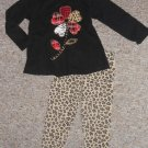 HEALTHTEX Black and Animal Print Leggings Pant Set Girls Size 24 months