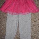 CARTER'S Gray Polka Dot Leggings Pink Tulle Tutu Skirt Girls Size 24 months