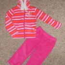 KIDGETS Hooded Pink Striped Fleece Pant Set Girls Size 24 months
