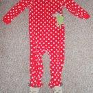 CARTER'S Red Polka Dot Reindeer Fleece Blanket Sleeper Toddler Size 3T
