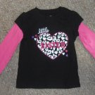 JUMPING BEANS Black and Pink LITTLE SISTER Long Sleeved Top Girls Size 3T