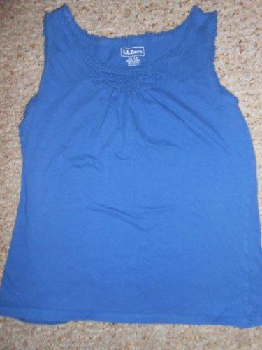 LL BEAN Blue Ruffled Trim Tank Top Girls Size 18 XL
