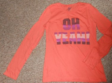 OLD NAVY Orange OH YEAH! Long Sleeved Top Girls Size 14 XL