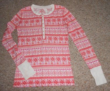 MUDD Pink Print Thermal Long Sleeved Top Girls Size 16 XL
