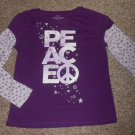 FADED GLORY Purple PEACE Long Sleeved Top Girls Size 14-16 XL