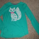 HANES Blue Green Lace Kitty Long Sleeved Top Girls Size 14-16 XL