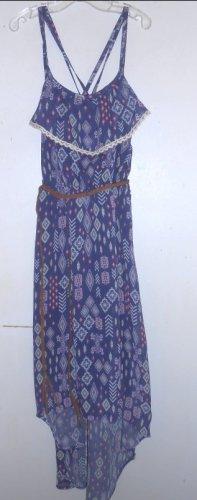 XHILARATION Navy Print Sundress with Braided Leather Belt Girls Size 10-12 L