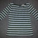 BANANA REPUBLIC Jeweled Gray Striped Top Ladies Small