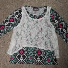 RMLA Layered Look Black Print with Lace Overlay Long Sleeved Top Girls Size 12