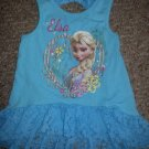 DISNEY Blue Lace Trimmed FROZEN ELSA Asymmetrical Tank Top Girls Size 2T