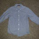 GYMBOREE Blue Pinstripe Polka Dot Button Front Shirt Girls Size 5-6 Slim Fit