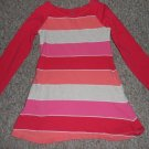 LANDS' END Pink Striped Long Sleeved Dress Side Pockets Girls Size 4