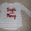 GYMBOREE Gray Striped MERRY & BRIGHT Long Sleeved Top Girls Size 5