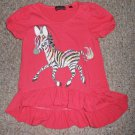 TEMPTED HEARTS Pink Short Sleeved Beaded Zebra Top Girls Size 6