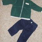 CARTER'S Green Fleece Top Navy Corduroy Pants Boys Size 3 months