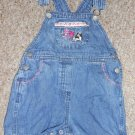 LITTLE BIG DOGS Floral Trim Denim Short Overalls Girls Size 18-24 months