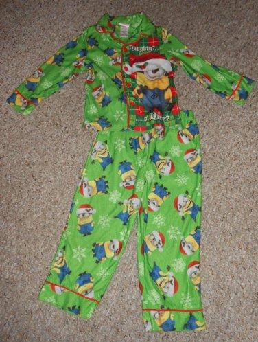 Green MINION Holiday Flannel Pajamas Boys Size 4