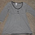 JUSTICE Black and White Striped Tunic Top with Rhinestones Girls Size 10