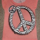 JUSTICE Pink MAKE PEACE HAPPEN Capped Sleeved Top Girls Size 12