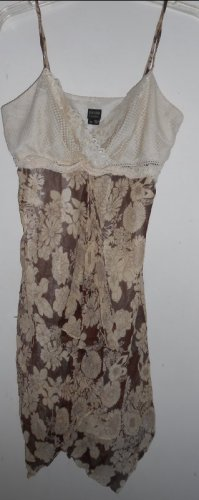 NICOLE MILLER Brown Floral Crochet and Draped Sundress Ladies Size 10