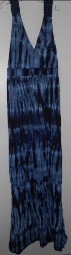 FADED GLORY Full Length Blue Tie Dyed Crochet Trim Sundress Ladies Size 8-10 M