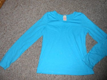 FADED GLORY Sparkly Blue Long Sleeved Top Girls Size 14-16 XL