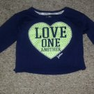 JUSTICE Navy Blue Embellished LOVE ONE ANOTHER Crop Top Girls Size 8