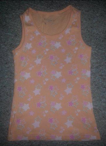 JUSTICE Orange Star Print Ribbed Tank Girls Size 12